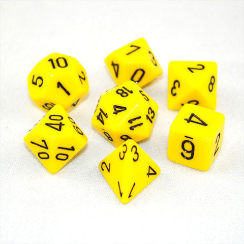 Chessex Opaque Polyhedral Yellow/black 7-Die Set