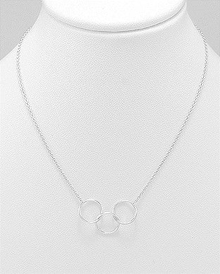 STERLING SILVER 3 CIRCLE NECKLACE FULLY ADJUSTABLE