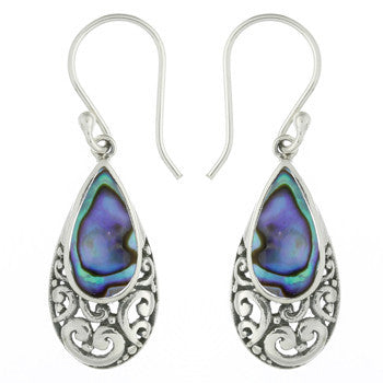 ABALONE PAUA SHELL DROP EARRINGS STERLING SILVER