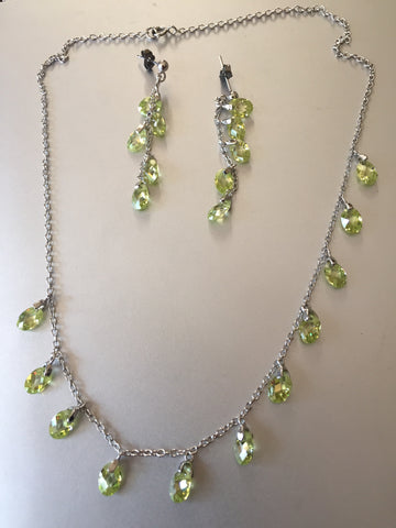 GREEN PERIDOT CRYSTAL NECKLACE AND EARRING SET STERLING SILVER