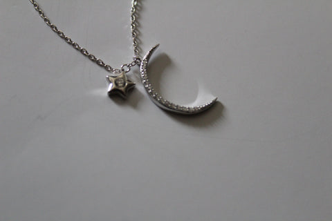 MOON AND STAR NECKLACE WITH CRYSTALS