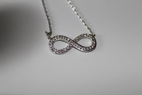 CRYSTAL ENCRUSTED INFINITY NECKLACE ADJUSTABLE