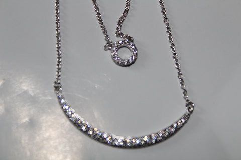 DOUBLE STRAND CRYSTAL NECKLACE CRESCENT MOON