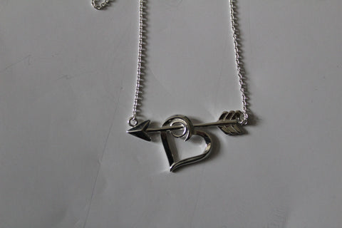 STERLING SILVER HEART WITH ARROW NECKLACE