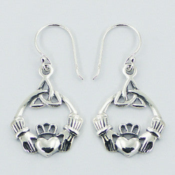CELTIC CLADDAGH TRINITY EARRINGS STERLING SILVER