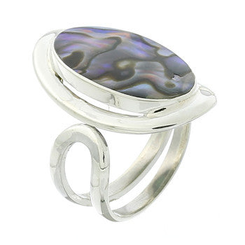 ABALONE SHELL RING STERLING SILVER