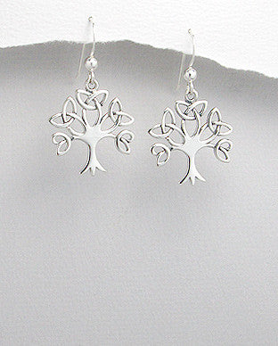 CELTIC TRINITY TREE EARRINGS .925 STERLING SILVER