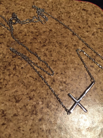 SIDEWAYS CROSS NECKLACE STERLING SILVER NECKLACE ADJUSTABLE LEGNTH