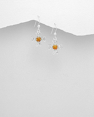 BALTIC AMBER CELTIC CROSS EARRINGS STERLING SILVER