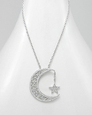MOON AND STAR STERLING SILVER NECKLACE .925 STERLING SILVER