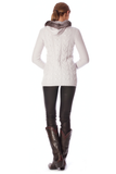 Axels Milan Collection Hooded Cable Cardigan w/Toggles and Fur Trim