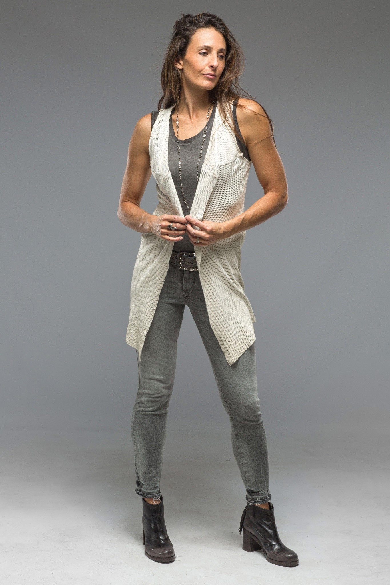 Dulce Long Vest in White