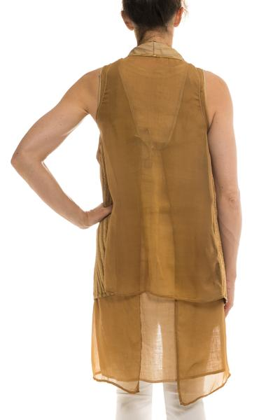 Kalahari Leather/Chiffon Vest in Desert (2015034245213)