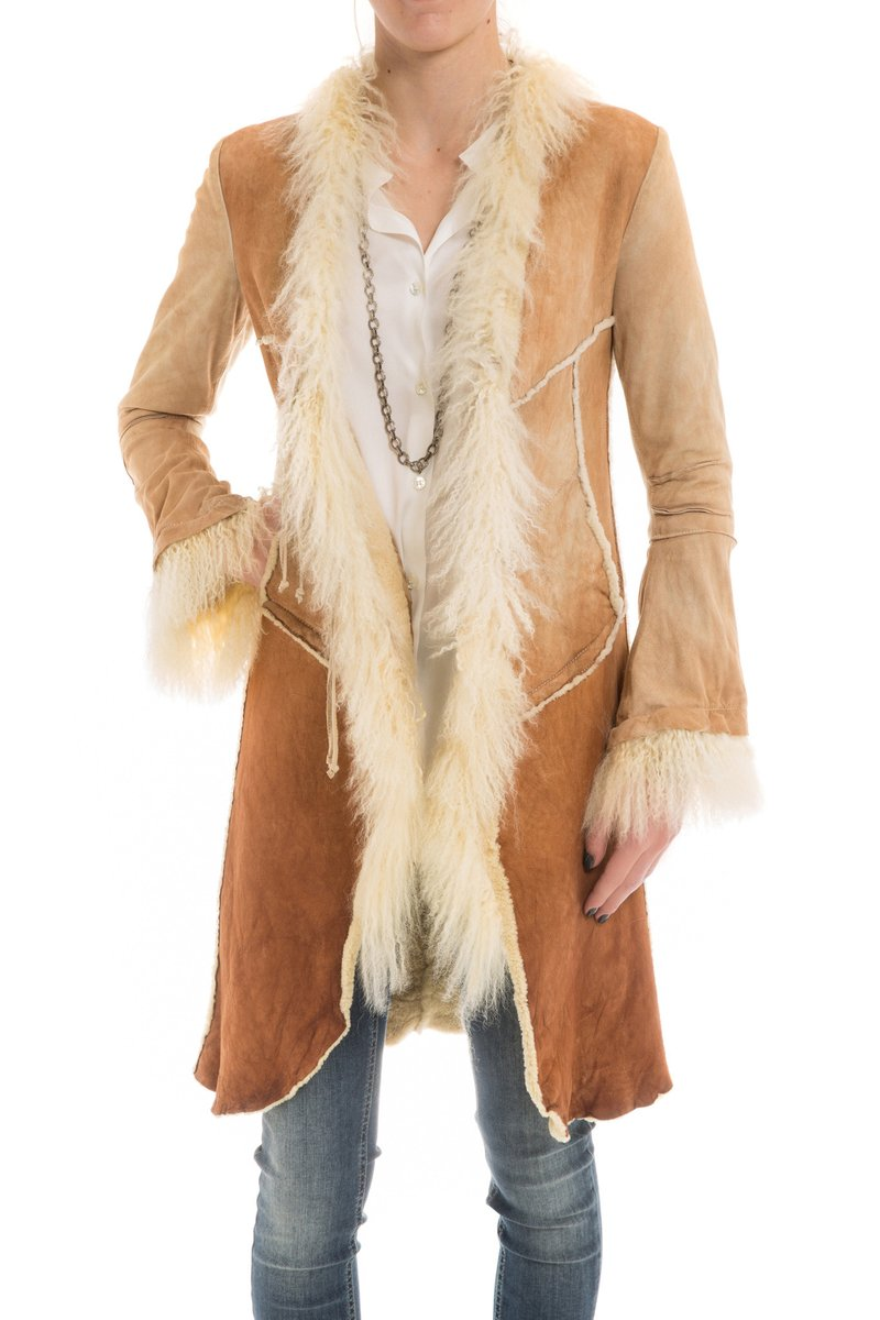 Dixie Long Shearling Coat in Palomino (3539240910941)