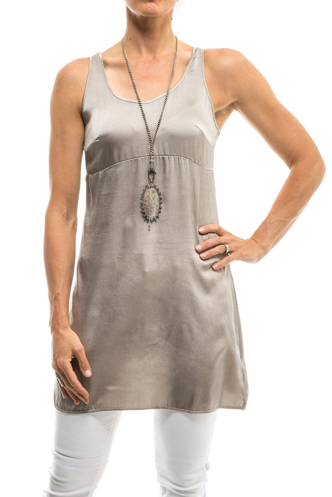 Elie Long Stretch Silk Tank In Silver (3555081584733)