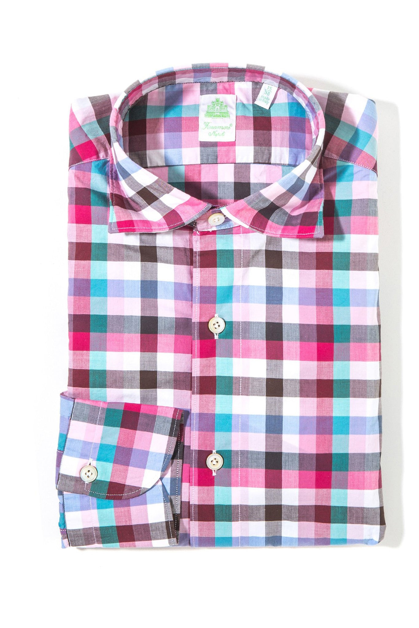 Finamore Giovanni Sport Shirt Pink/Green Plaid (3578432225373)