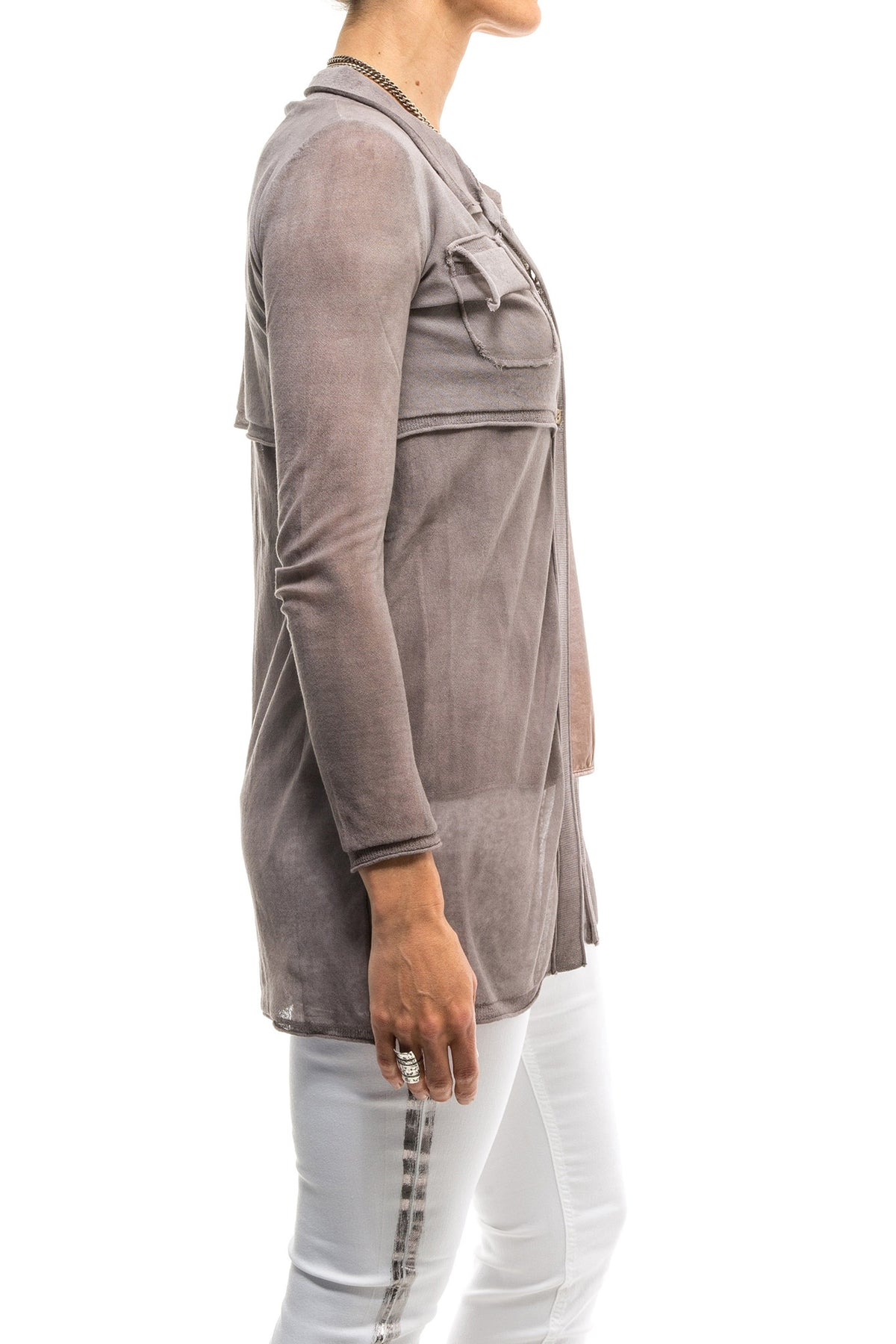 Inez 4 Button Long Top/Sweater W/ Attached Shrug In Rose