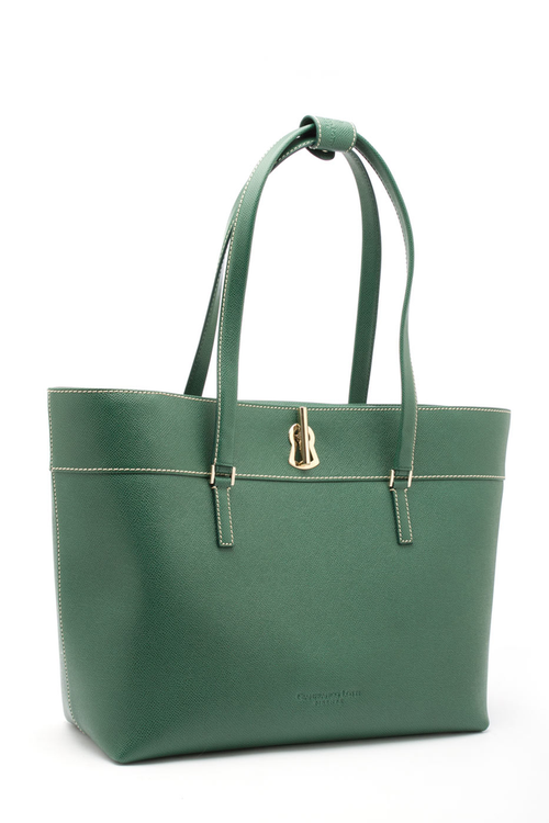 Gianfranco Lotti Large Tote w/Bar Key Lock In Green