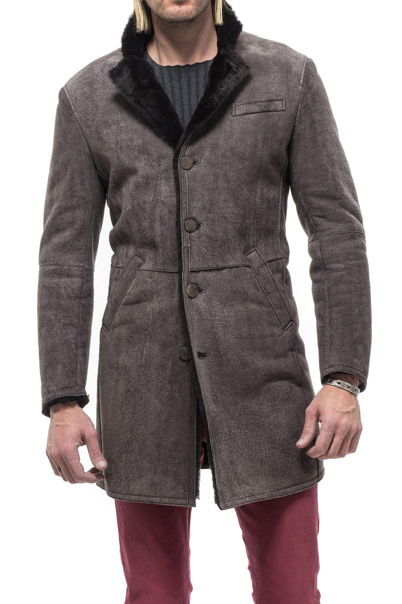Colton Herringbone Shearling Coat (1954003386461)