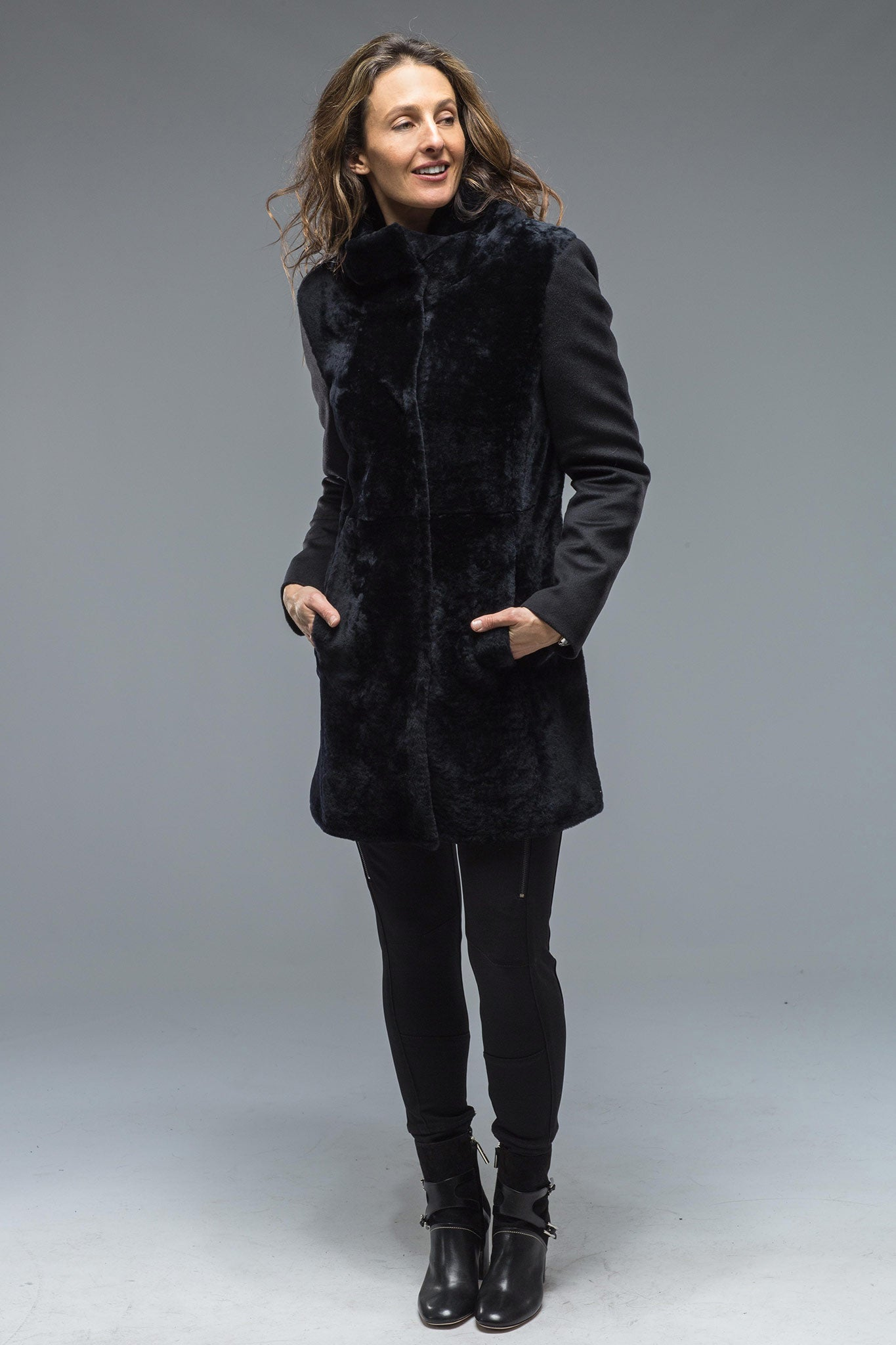 Ensley Shearling Coat In Navy