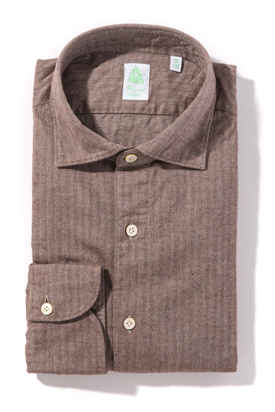 Finamore Toce Herringbone Dress Shirt