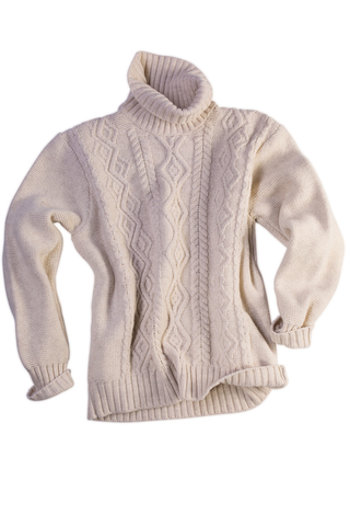 Inis Meain Wool-Cashmere Classic Aran Turtleneck