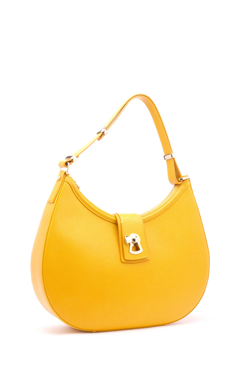 Gianfranco Lotti Medium Hobo Bag In Mustard