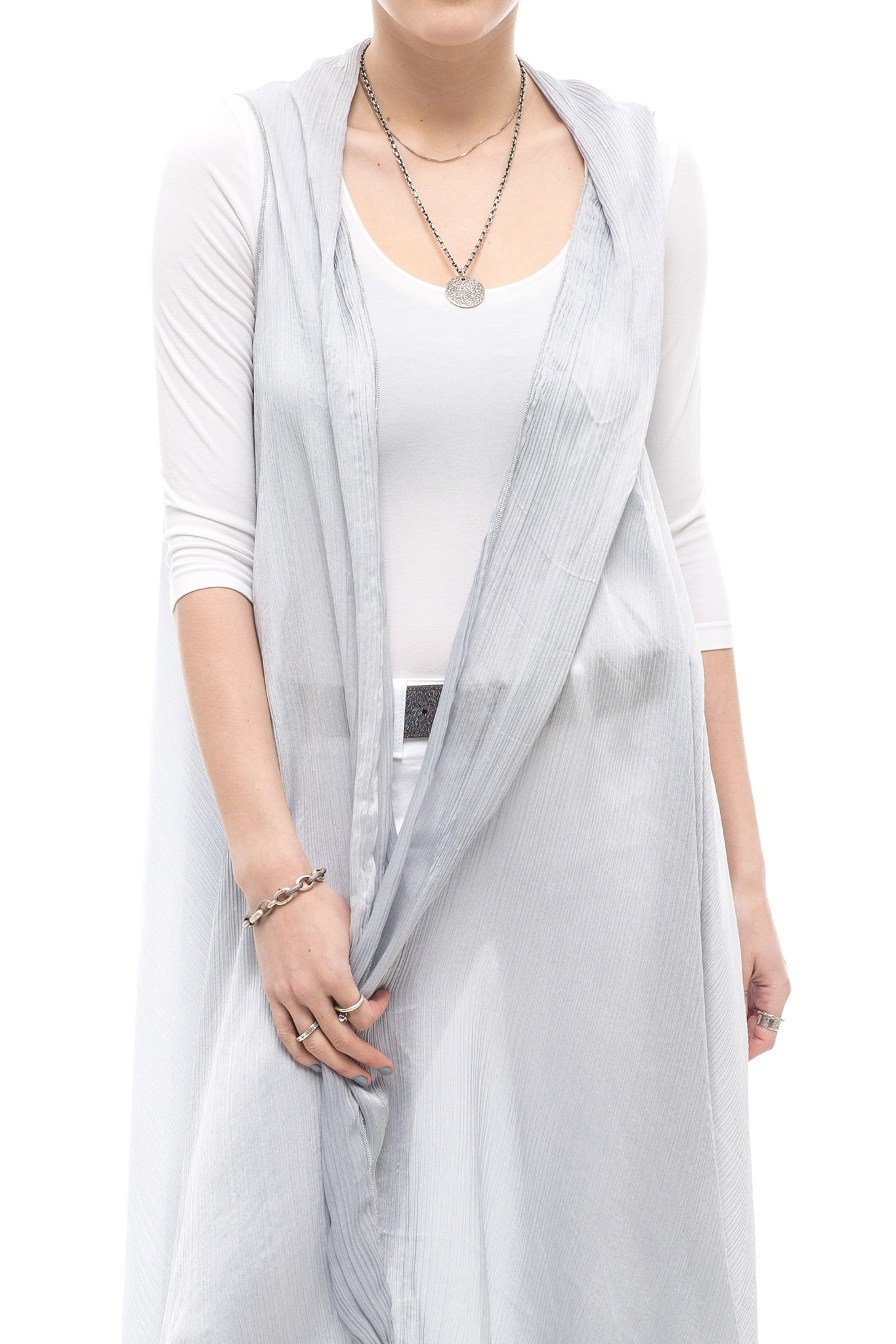 Avant Toi Crete Silk Shawl Vest in Slate Grey (3771905998941)