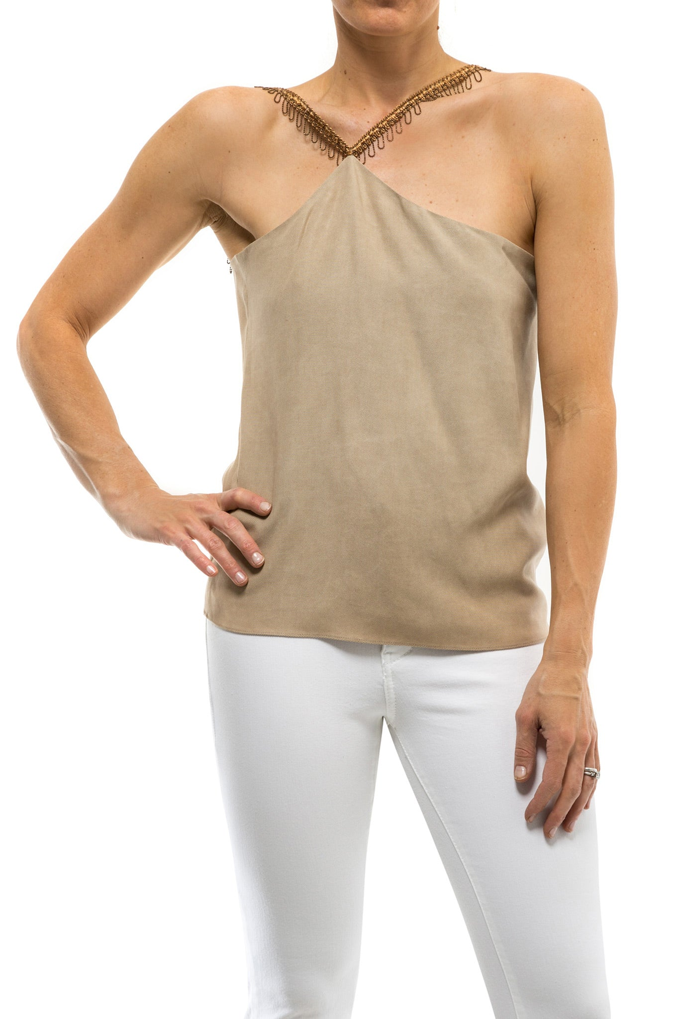 Assymetric Tencel Top In Sand (3606876586077)