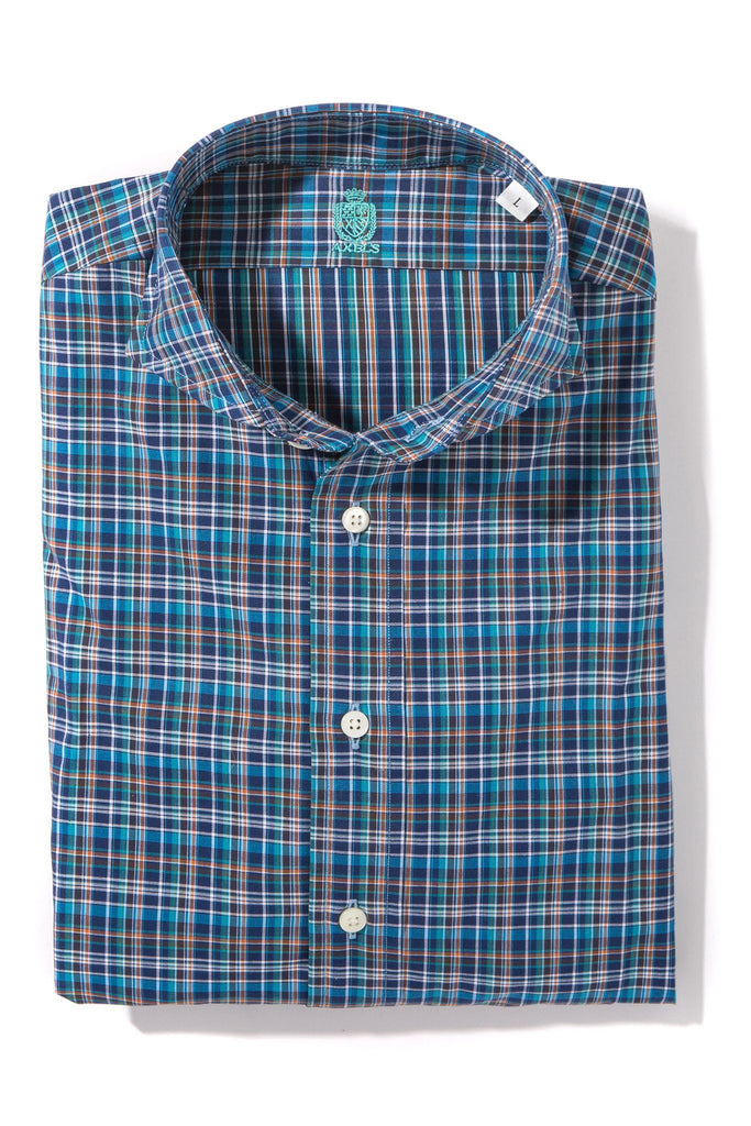 Edgefield Shirt in Navy/Teal Multi-Check (4604340764765)