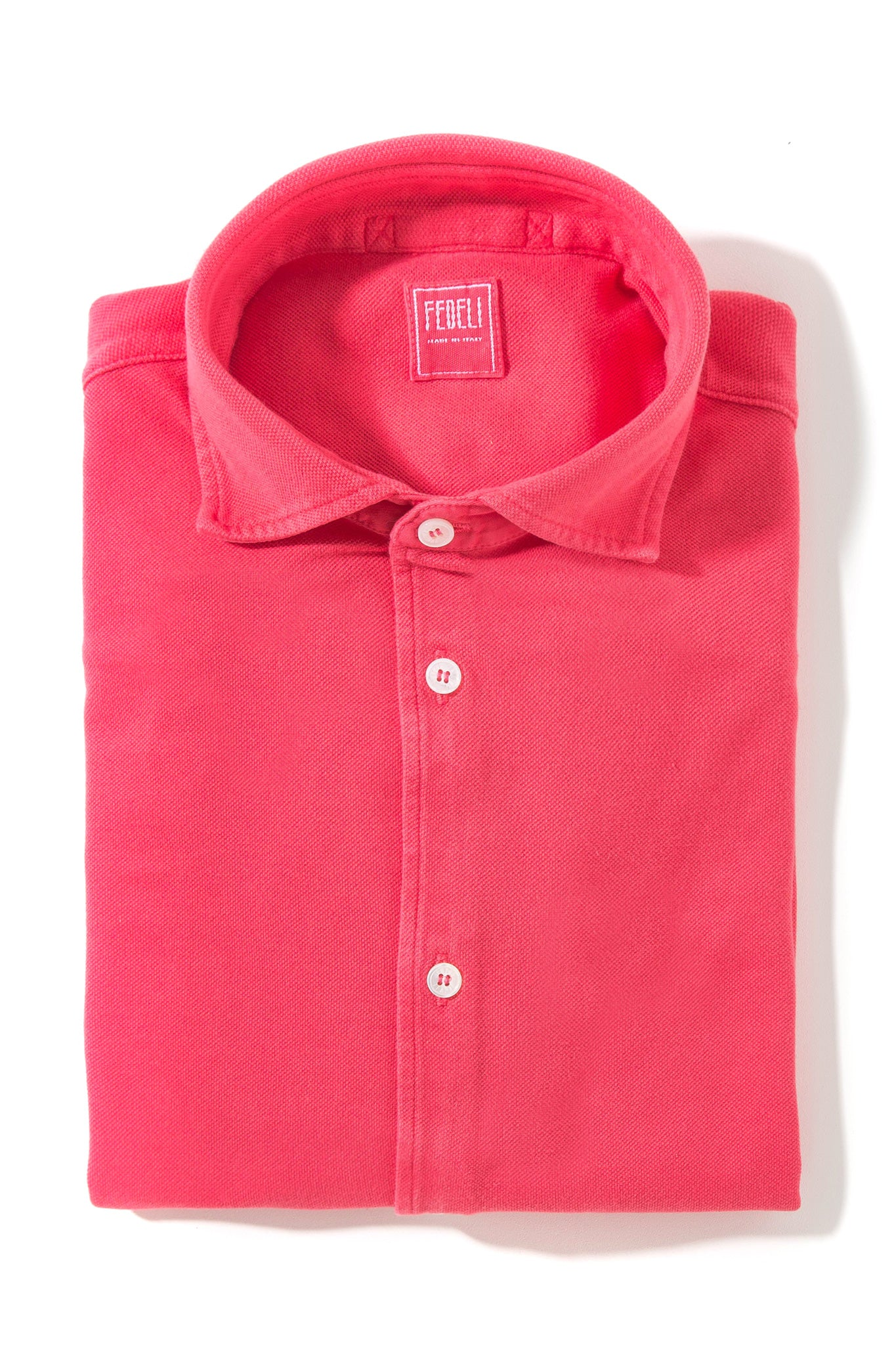 Fedeli Coral Errante Frosted Long Sleeve Polo (3726968455261)
