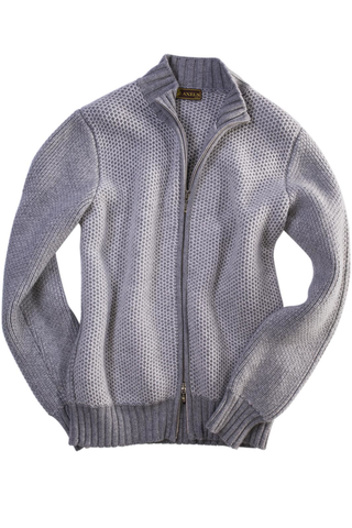 Dunmore Honeycomb Cashmere Cardigan In Grey