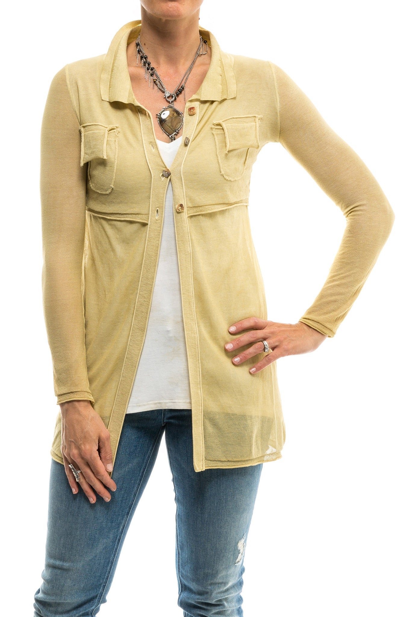 Inez 4 Button Long Top/Sweater W/ Attached Shrug In Beige (2011802337373)