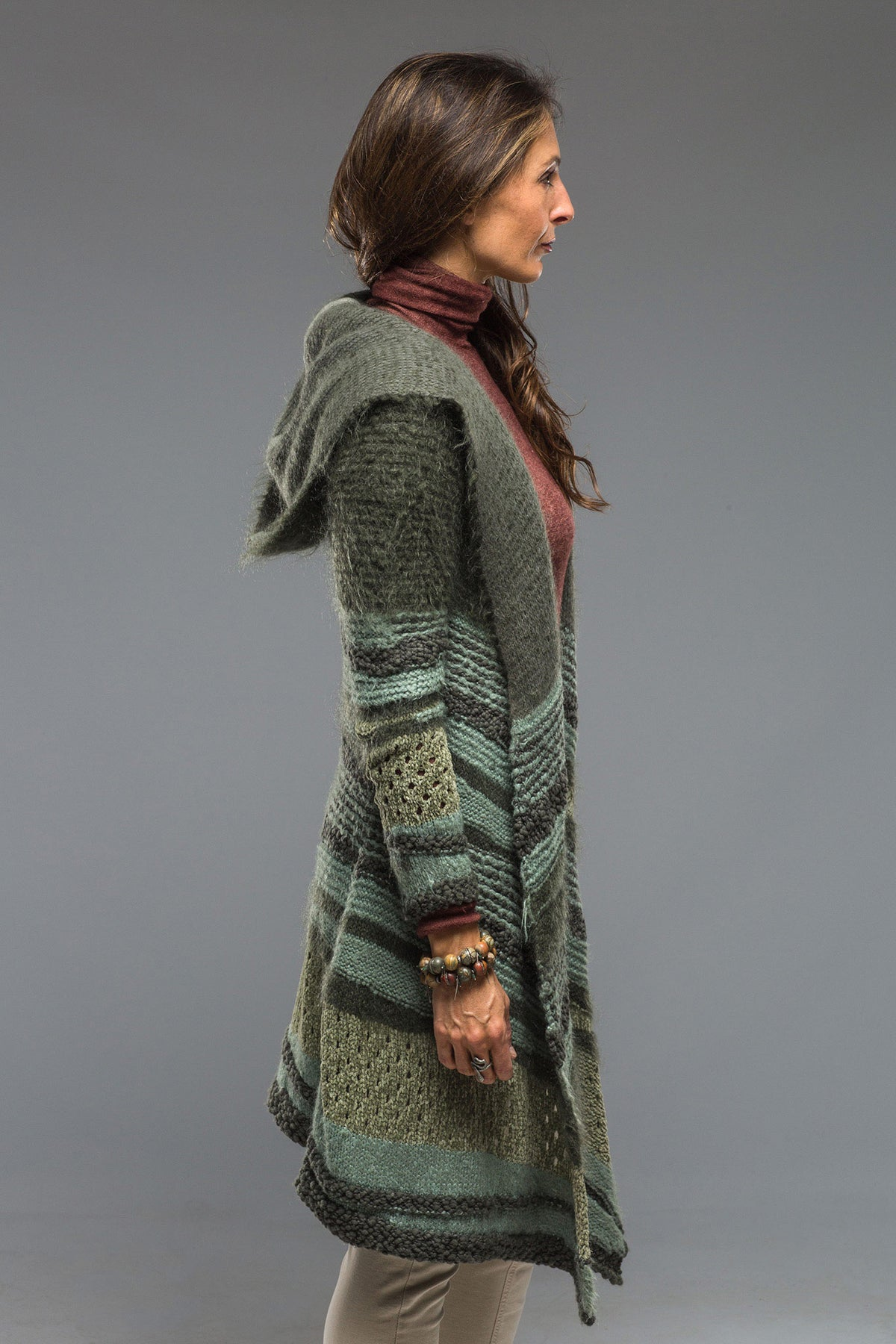 Atacama Long Hooded Sweater in Military (4286548508765)