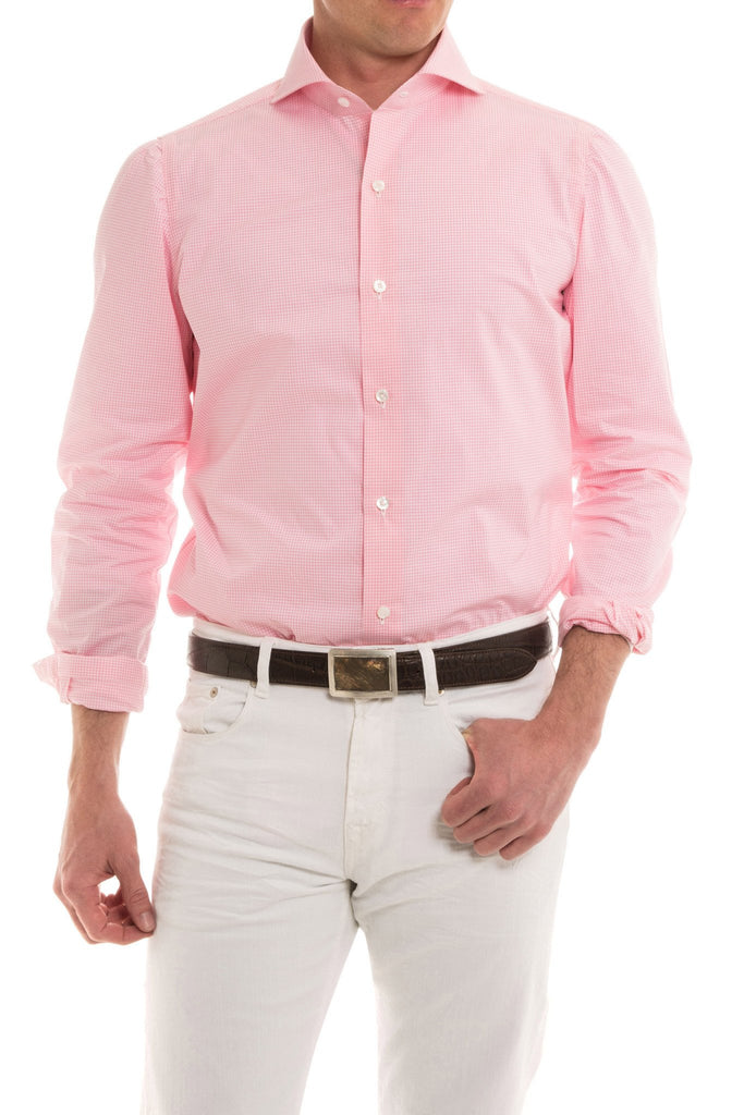 Banega Gingham Dress Shirt in Pink (4604328869981)