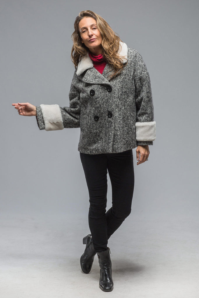 Skye Tweed Dbl Breasted Coat In Black/Grey/White (5897559900313)