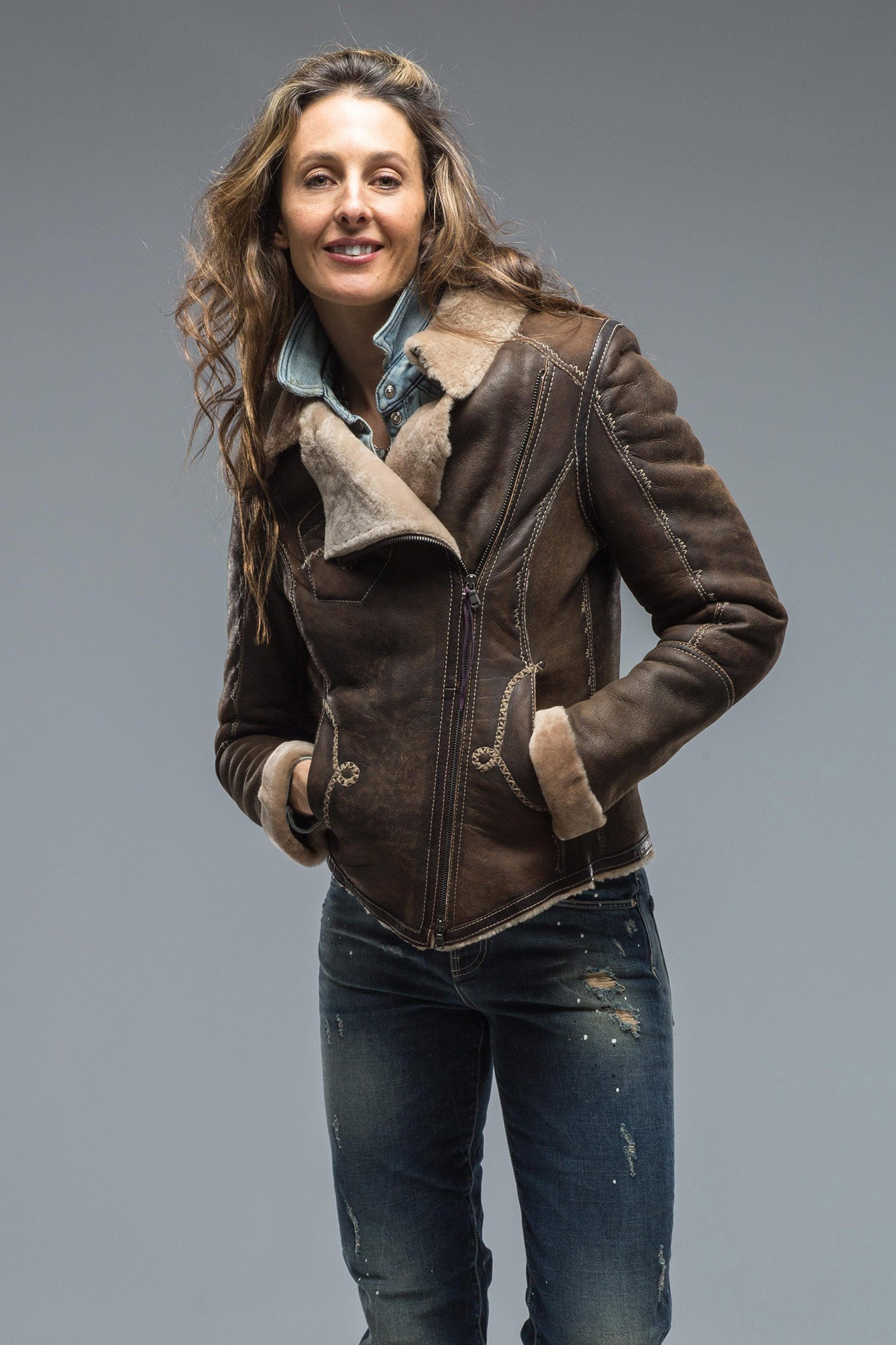 Dallas Leather Shearling Jacket