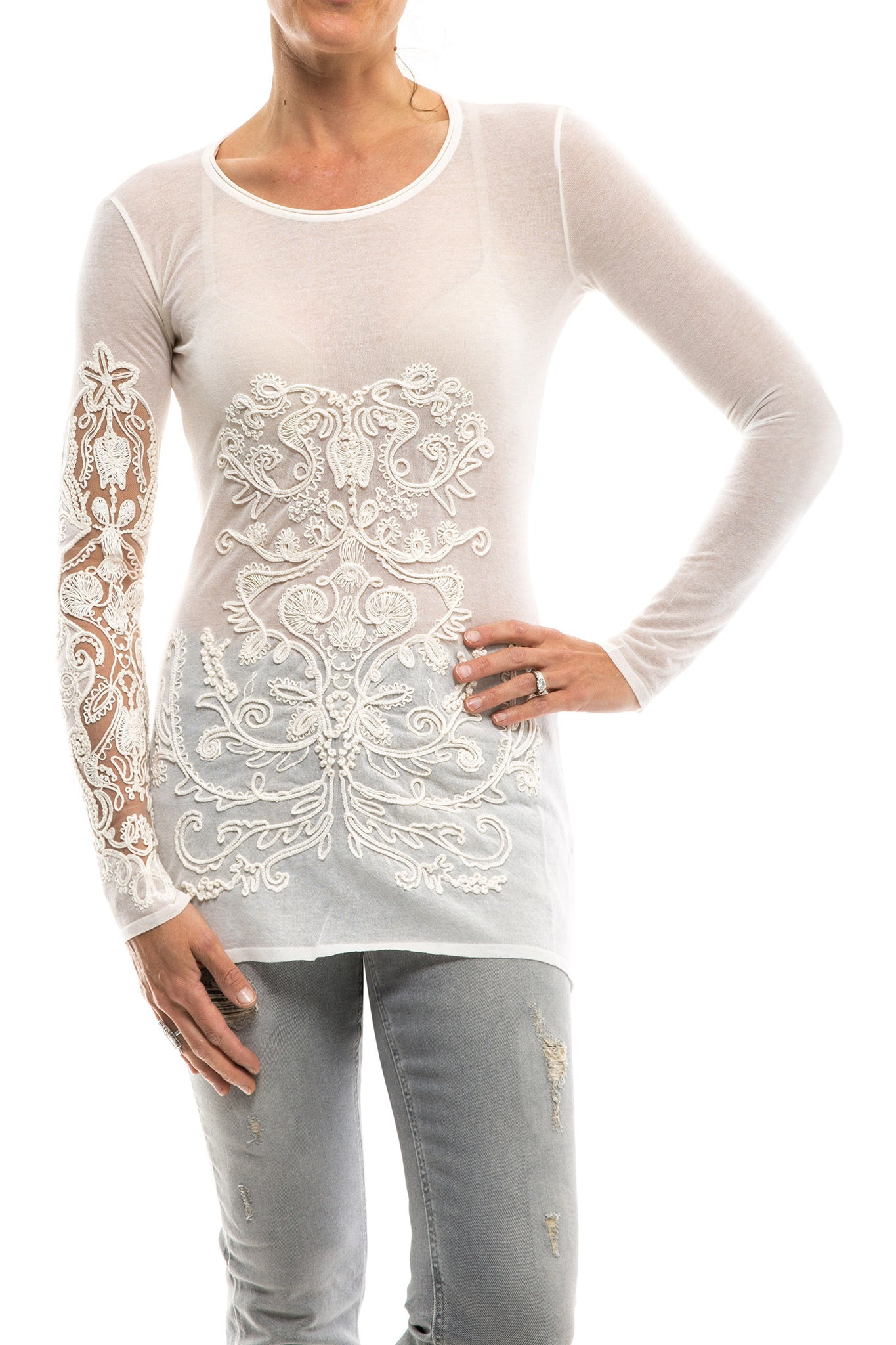 Catalina Cotton Chiffon Top W/ Embroidered Sleeve In Milk (3554832220253)