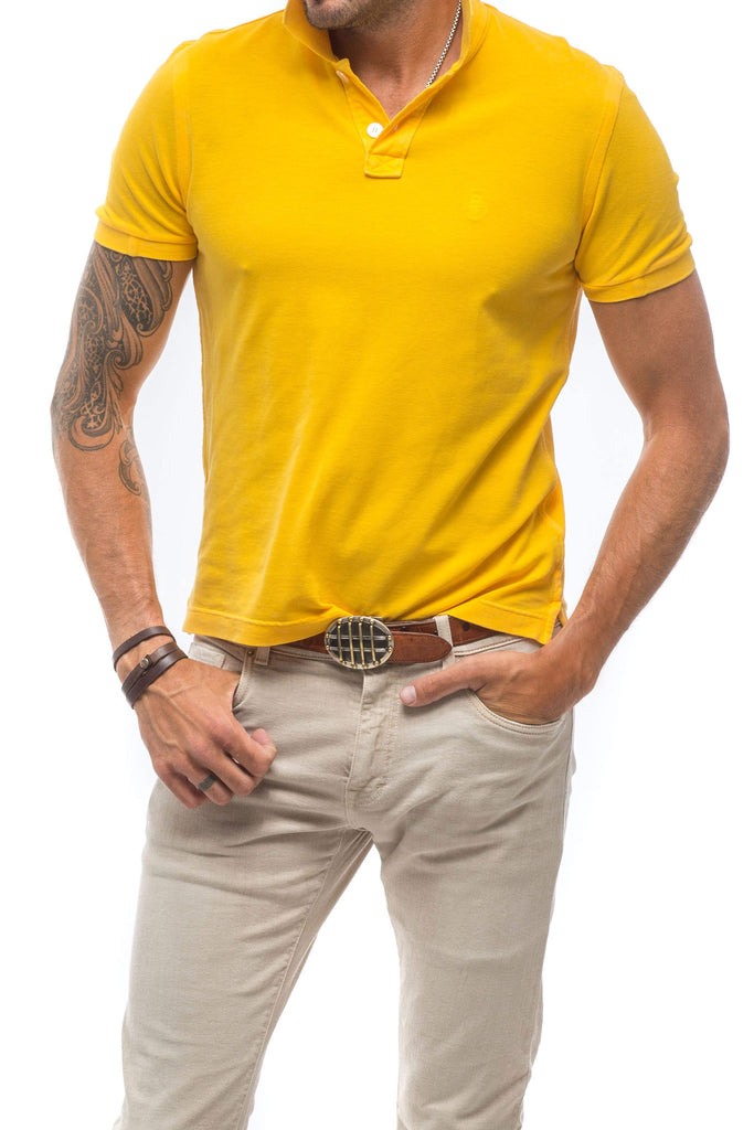 Collin Short Sleeve Polo in Yellow (3677301899357)