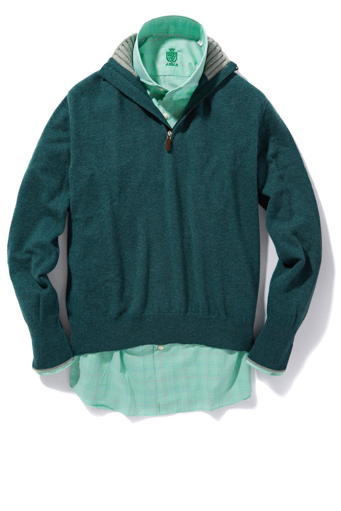 Axel's Milan Collection Half Zip Cashmere Sweater in Green