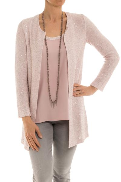 Amina Rubinacci Porora Long Cardigan in Rose