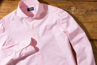 Finamore Sergio Double Pink/White Stripe Dress Shirt - Mens - Shirts - AXEL'S - 2