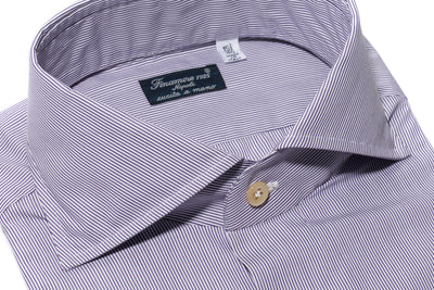 Finamore Tassi Dress Shirt in Purple Stripe