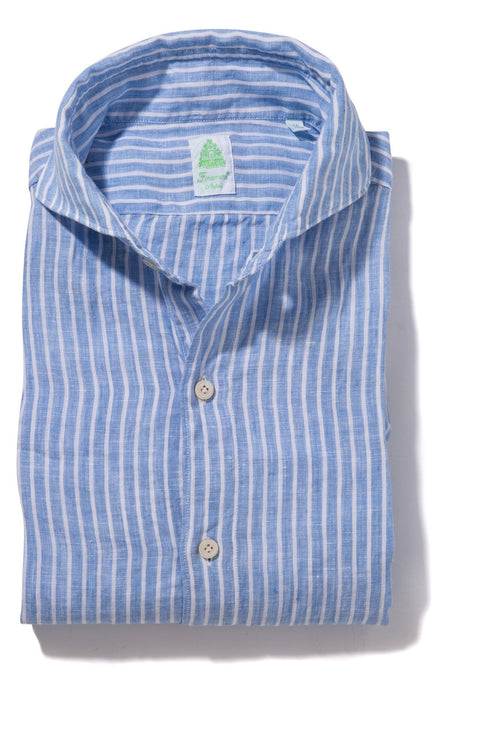 Finamore Sergio Light Blue Stripe Linen Sport Shirt