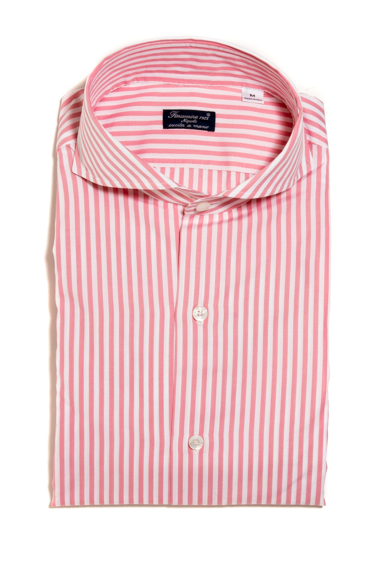 Finamore Sergio Pink/White Stripe Dress Shirt (103108116504)