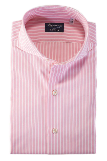 Finamore Sergio Double Pink/White Stripe Dress Shirt - Mens - Shirts - AXEL'S - 1