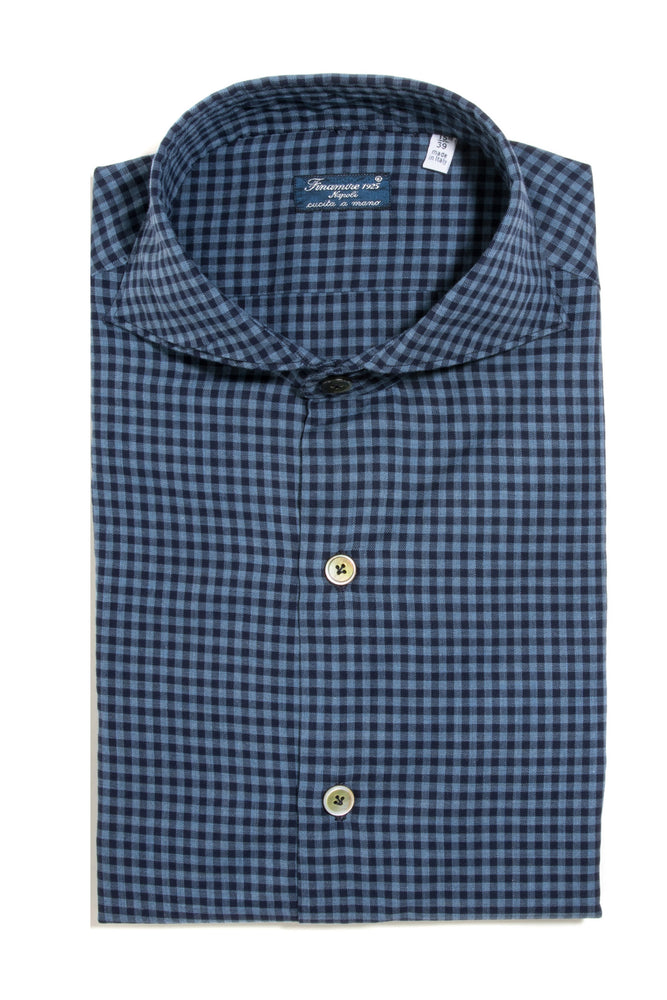 Finamore Paravicini Dress Shirt in Blue Check