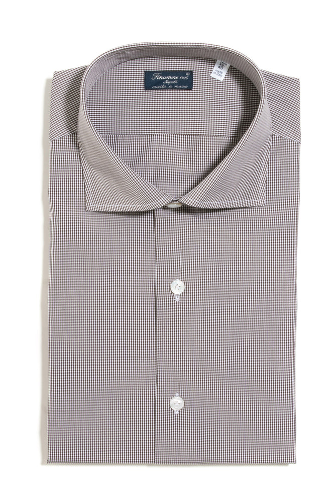 Finamore Maggiore Dress Shirt in Brown Mini-Check