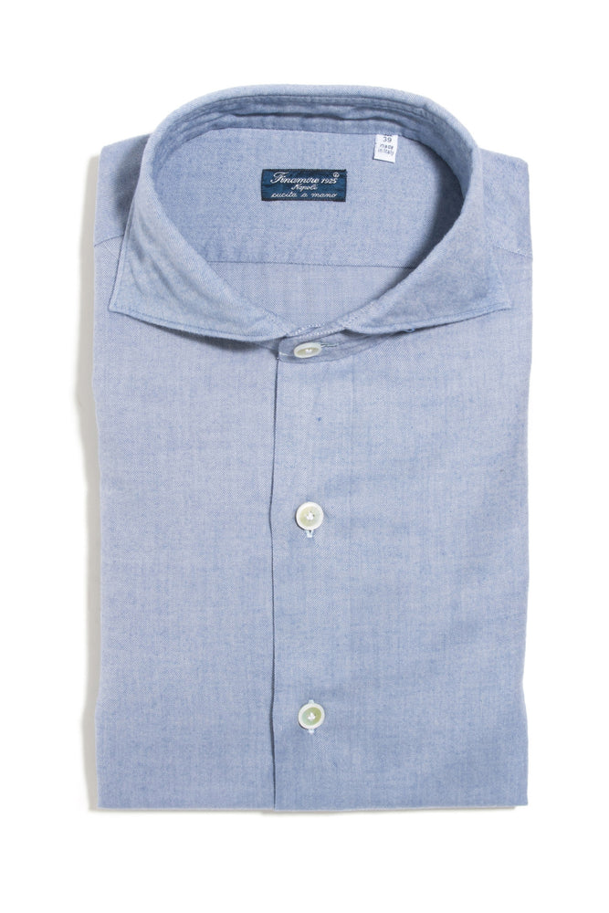 Finamore Albergoni Brushed Dress Shirt in Blue
