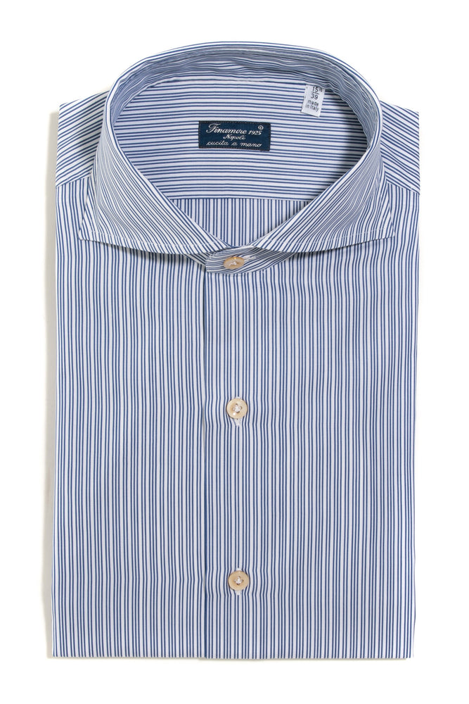 Finamore Aleramo Dress Shirt in Blue Stripe
